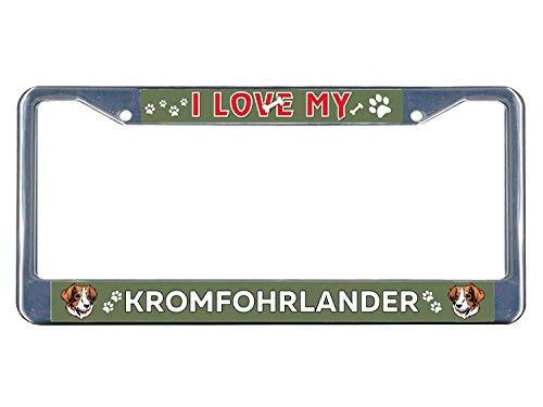 Price comparison product image Kromfohrlander Dog I Love Metal License Plate Tag Holder Metal Frame Aluminum Frame Tag Holder 12in x 6in