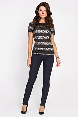 bestia Damen Bluse, Modell Jonna, Kurzarm Bluse, Oberteil, T-Shirt, Streifenoptik