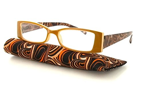 Calabria Victoria Designer Reading Glasses in Tan ; - Reading Designer Eyewear Glasses
