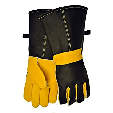 G & F 100% Premium Grain Leather Barbecue/BBQ Gloves, Grill Gloves, hearth Gloves, Cotton lining with 14.5-Inch Extra Long Sleeve