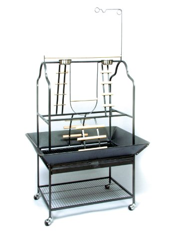 Prevue Hendryx 3180 Pet Products Parrot Playstand, Black Hammertone, My Pet Supplies