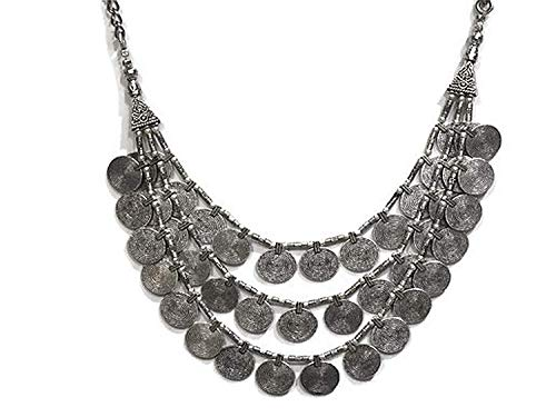 saissa Oxidised Metal Silver Plated Multi-Strand Coins Necklace Indian Jewelry for ()
