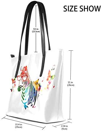 jhin Colorful Zebra With Butterflies Womens Purse PU Leather Shoulder Tote Bag Sac fourre-tout Backpack Ladies Travel Shopping Bags