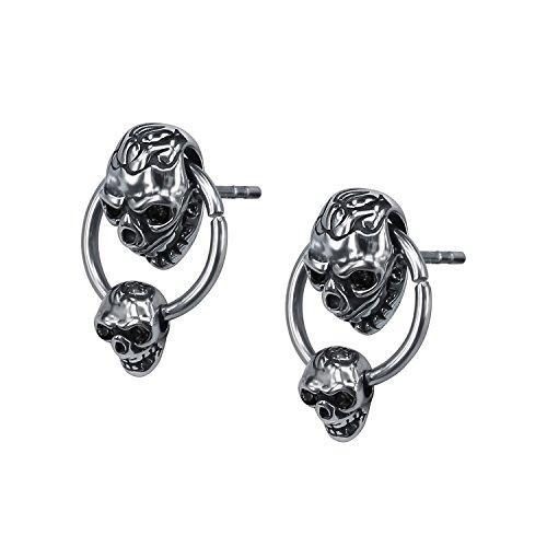 Unique Double Skull Dangle with Hoop Stainless Steel Crystal Earring Studs Gothic Biker Drop Earrings Men - Crystal Ring Skull