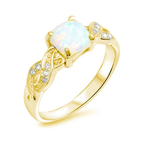 Infinity Crisscross Shank Ring Princess Cut Lab Created White Opal Round CZ Yellow Tone Plated 925 Sterling Silver (Cross Silver Yellow Tone)
