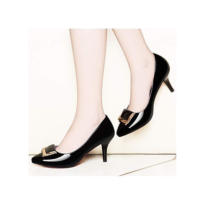 Hoesczs Tacchi Alti Spring New Pointed Mirror Low Shoes Stiletto Scarpe Da Donna Professional Commuter