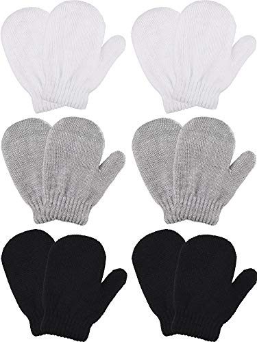 Boao 6 Pairs Stretch Mittens Winter Warm Knitted Gloves for Kids Toddler Supplies (Color Set 4)