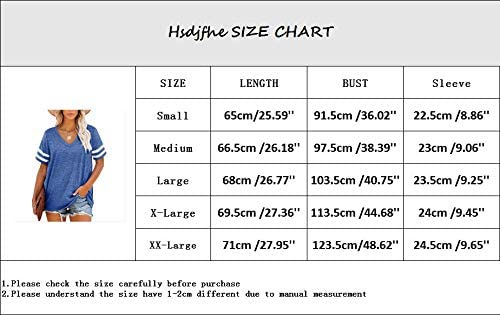 HSDJFHE WOMEN'S V NECK STRIPED SHORT SLEEVE T-SHIRTS LOOSE CASUAL OVERSIZED TUNIC TOPS