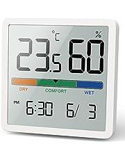 NOKLEAD Digitale thermo-hygrometer, draagbare thermometer, hygrometer, voor binnen, met hoge nauwkeurigheid, temperatuur en vochtigheidsmeter voor binnenklimaatbeheersing, kamerluchtbewaking