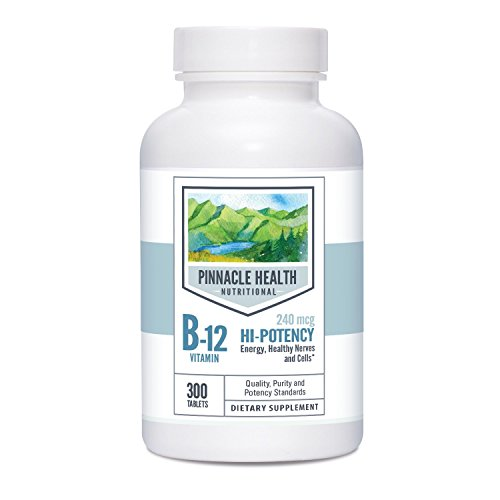 Vitamin B-12 Hi-Potency Dietary Supplement - Best Value 300 Count - Essential for Energy Metabolism, Blood Cell Formation & Circulatory Health, 240mcg