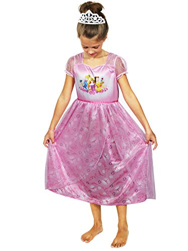 Disney Princess Girls Fantasy Nightgown Pajamas (6, Princess Pink)
