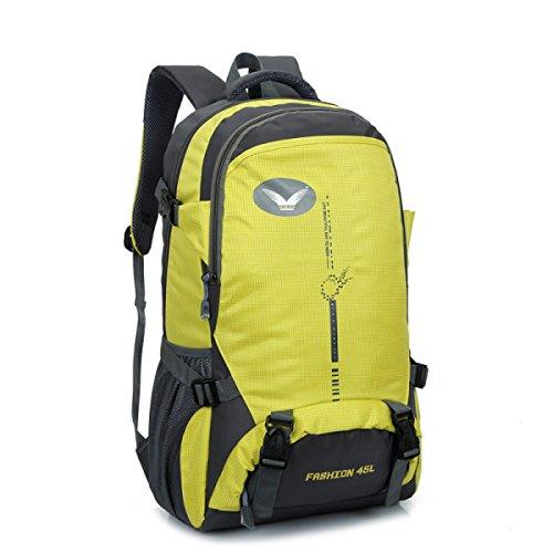 Alpinismo Al Aire Libre Mochila Hombres Y Mujeres Senderismo Mochila,Black-OneSize Yellow