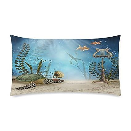 Top venta algodón y poliéster suave rectangular la Vivid peces swims freely funda de almohada 20