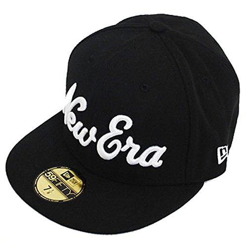 New Era 59fifty Pros Script 5950 Fitted Flat Peak Black Red Baseball Hat -
