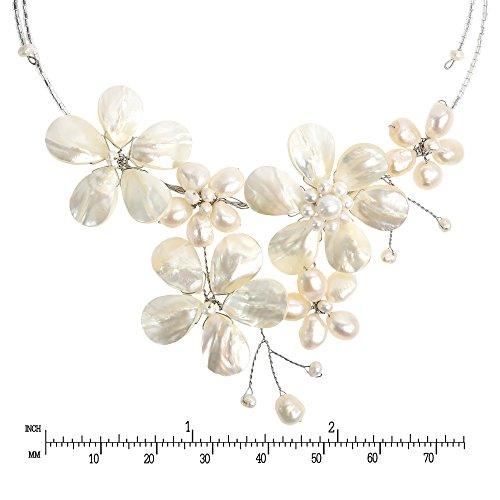 Mémoire Collier Shell Ras Pearls Nacre Base Du Perles Fleur Cou glass Multi De cultured Sur Fw 7qPUwTTx