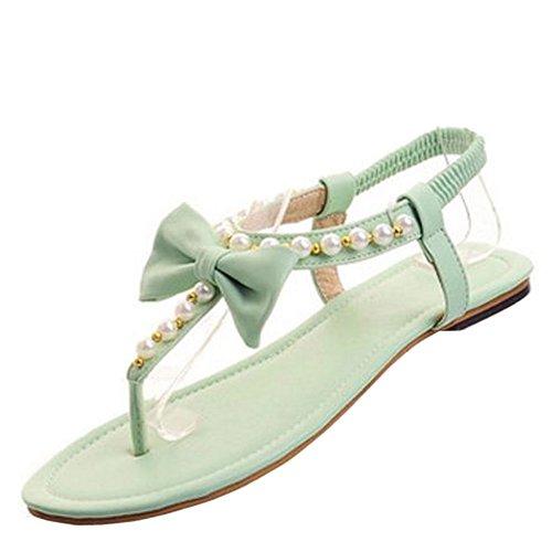 FANIMILA Mujer Moda Clip Toe Flip Flop Sandalias Chicas Planos Slingbanck Zapatos with Bowtie Verde