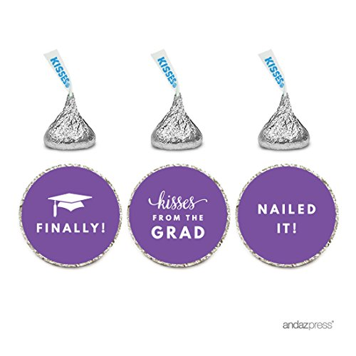 Andaz Press Chocolate Drop Labels Stickers Trio, Funny Graduation, Purple, 216-Pack, Fits Hershey
