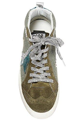 Golden Goose Women's G32WS634I5 Grey/Green Leather Hi Top Sneakers fYEsxcxj