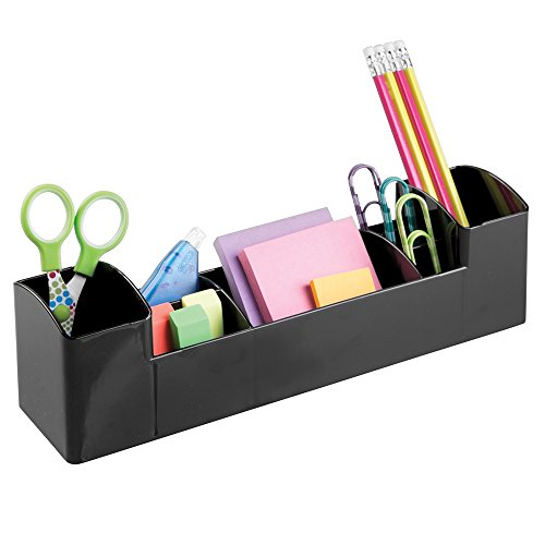 mDesign Office Supplies Desk Organizer for Pens, Pencils, Post-its, Highlighters, Scissors - 8 Compartments, Black