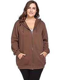 Involand Plus Size Women Active Soft Full-Zip Fleece Hoodie Jacket With Pocket