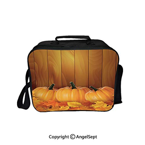 (Lunch Box Carry Case Handbags,Squash Vegetables Pumpkins and Wooden Planks Fallen Dry Maple Leaves Decorative Orange Yellow Dark Green 8.3inch,With Zipper For Adults Kids Teachers Workers)
