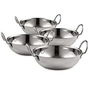 Set of 4 Large 18cm Stainless Steel Balti Bowls 30