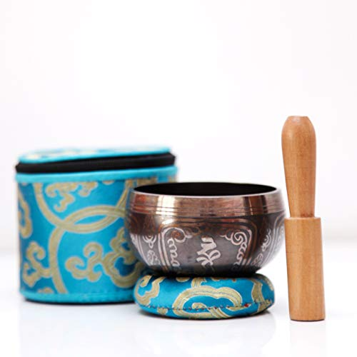 PANDA LIFESTYLE Tibetan Singing Bowl Set   Traditional Bronze Mantra Design with Cushion, Mallet, and Storage Box for Mediation, Yoga and Healthy Lifestyle   Perfect Gift ()