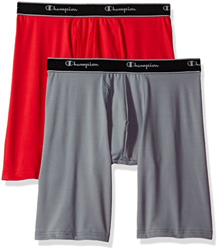 Champion Men's Tech Performance Long Boxer Brief, Team Red Scarlet/Concrete, Small