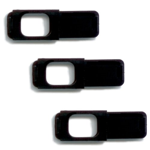C-Silde 1.0 Webcam Cover, Black, Pack of 3