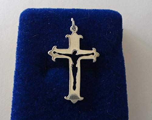 Sterling Silver 30x20mm Cut Out Crucifix Cross Pendant Charm concave on Back