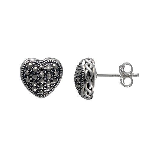 Aura by TJM 925 Sterling Silver 0.418 cttw Pyramid-cut Marcasite Heart Stud Earrings