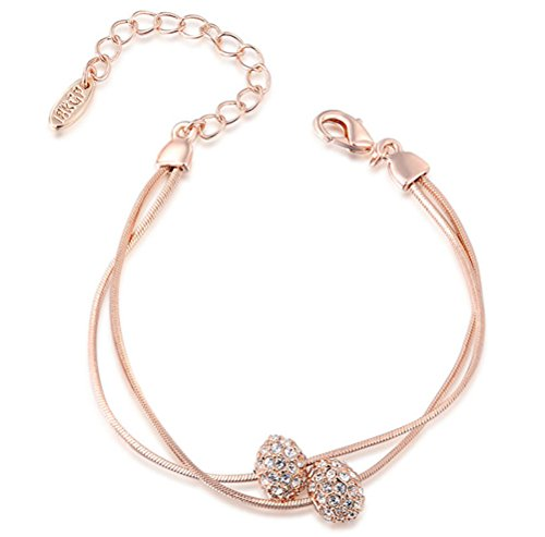 Silver and Rose Gold Diamond Bead Bracelet