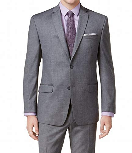 Marc York Charcoal Mens Notch-Collar Two Button Blazer Gray 46 ()