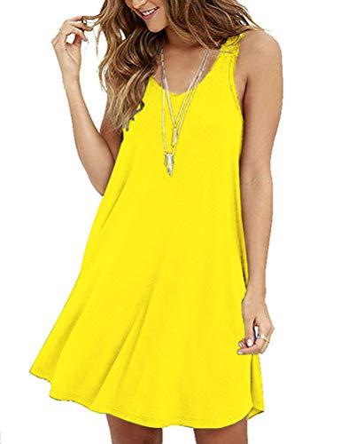 MOLERANI Women's Summer Casual Sleeveless Swing Dress Sundress Yellow M