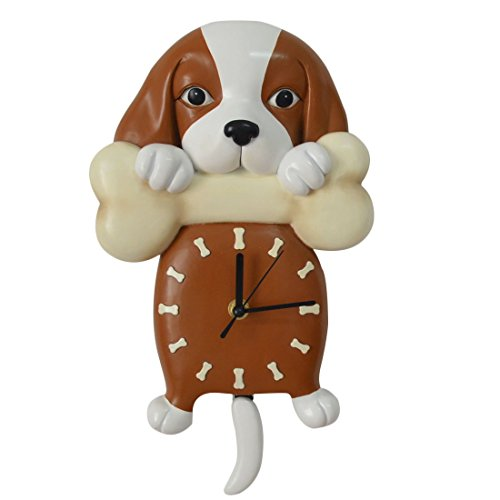 Giftgarden Puppy Dog Holding Bone Wall Clock Tail Pendulum Pet Owner -