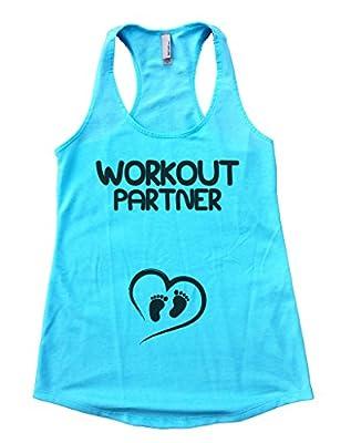 "Newborn Expected Gift -Flowy Pregnancy Tank Top""Workout Partner"" Funny Threadz"