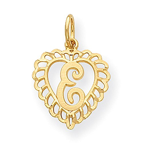 14k Yellow Gold Letter E Initial Inside Heart Charm With Fancy Border 23x15mm ()