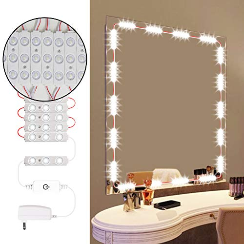 Dimmable Vanity Mirror Lights Dmeixs Led Vanity Lights Hollywood Style Makeup Lights Stick on with Touch Dimmer Waterproof Mirror Lights Strip with Power Supply Led Modules Lights for Vanity