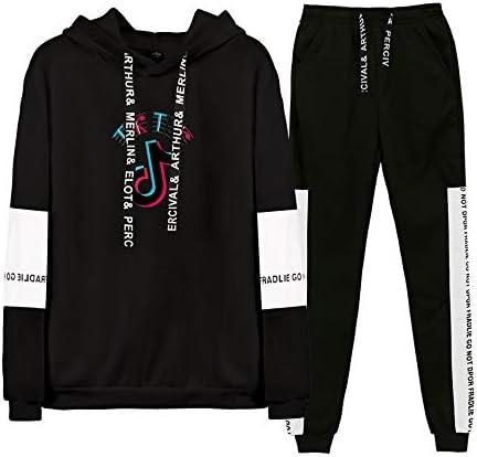 JDSWAN Unisexe TIK TOK 2 Pi/èces Manches Longues Outwear+Jogging Sportwear pour Running Jogging Gym Full Tracksuit Sweatsuit Activewear