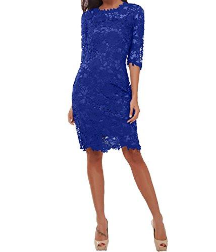 Partykleider 3 mit Brautmutterkleider 2 Kurzes Langarm Abendkleider Charmant Festlichkleider Royal Knielang 4 Etuikleider Damen Blau qaRWwz8I