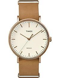 Timex TW2P91200GP Weekender Fairfield Analog-Quartz Wrist Watch, White Dial/Brown Strap