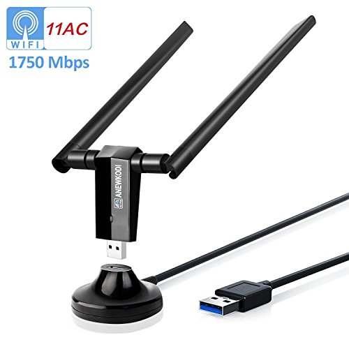 ANEWKODI AC1750Mbps USB WiFi Adapter USB 3.0 Double 5dBi Antenna USB Wireless Adapter Dual Band 2.4GHz/5.8GHz 1300Mbps 802.11ac/b/g/n Wireless Adapter Support Win10/8/7/Vista/XP/2000/Mac Os 10.6-10.13