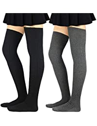 5b14c6a837116 Women Stripe Tube Dresses Over the Knee Thigh High Stockings Cosplay Socks