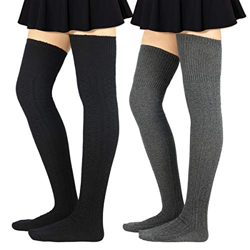 Zando Women Girls Tall Extra Long Leg Warmers Knit Cotton Thigh High Stockings 2 Pack Black & Dark Gray One Size : XS to M