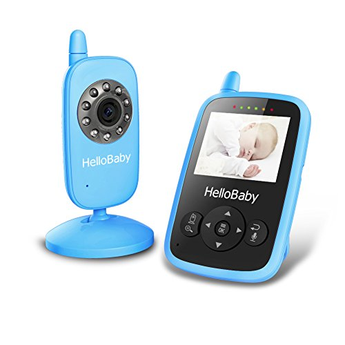 HelloBaby Wireless Video Baby Monitor Security Camera with Night Vision & Temperature Monitoring, 2 Way Talk Talkback System and VOX Mode (HB24 Blue) by Hello Baby
