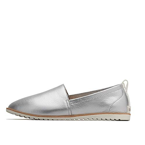 Sorel - Women's Ella Slip On Leather Shoes, Pure Silver, 6.5 M US ()