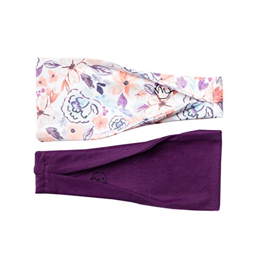 Womens Headband Yoga Running Exercise Sports Workout Athletic Gym Wide Sweat Wicking Stretchy No Slip 2 Pack Set Plum Purple Floral  Asana  By Maven Thread