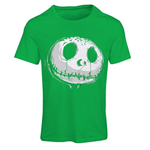 lepni.me T Shirts for Women Scary Skull Face - Nightmare - Halloween Outfit Party Costumes (Medium Green Multi Color) -