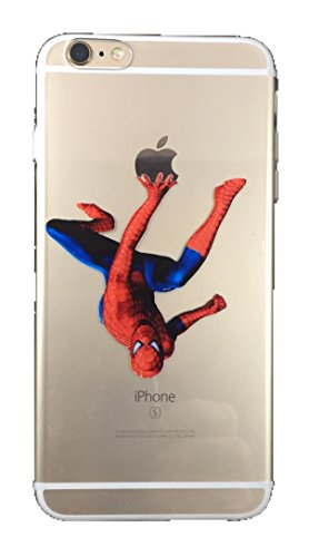 Favorite Character Cases iPhone 6 Plus and 6s Plus From Your Favorite Shows and Movies! Clear Flexible Silicone (Spiderman Hanging)