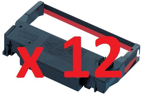 12 x High Quality Compatible Black & Red Ribbons for Epson ERC30 ERC34 ERC48 ERC 30 ERC 34 ERC 38 (2929DN Black) Guaranteed By The Monitor Shop